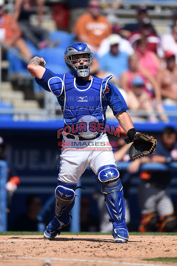 Toronto Blue Jays catcher Sean Ochinko (69) during a Spring Training game against the Houston Astros on March 9, 2015 at Florida Auto Exchange Stadium in Dunedin, Florida.  Houston defeated Toronto 1-0.  (Mike Janes/Four Seam Images)
