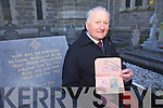 Danny O'Connor from Cahersiveen pictured here at the grave of the Rt. Rev. Mnsr Hugh O'Flaherty's in the grounds of the O'Connell Church Cahersiveen with Mnsr. O'Flaherty's passport from 1922 while he was Clerical Student and his Biretta a square cap with three ridges or peaks on its upper surface, worn by clerics of all grades from cardinals downwards.