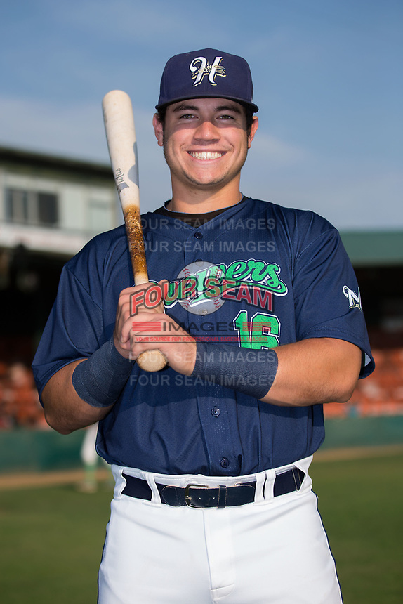 KJ Harrison (16) of the Helena Brewers poses for a photo prior to the game against the Orem Owlz at Kindrick Legion Field on August 17, 2017 in Helena, Montana.  The Owlz defeated the Brewers 5-2.  (Brian Westerholt/Four Seam Images)