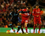 Wilfried Bony of Manchester City tussles with Roberto Firmino of Liverpool - English Premier League - Liverpool vs Manchester City - Anfield Stadium - Liverpool - England - 3rd March 2016 - Picture Simon Bellis/Sportimage