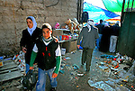 People at the main market in Ramallah, West Bank.