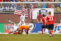 7 June 2011: USA Men's National Team goalkeeper Tim Howard (1) makes a save in the second half during the CONCACAF soccer match between Panama and Guadeloupe at Ford Field Detroit, Michigan.