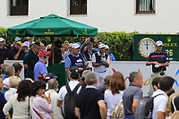 Sergio Garcia (ESP) and Marc Warren (SCO) on the 1st tee during Sunday's storm delayed Final Round 3 of the Andalucia Valderrama Masters 2018 hosted by the Sergio Foundation, held at Real Golf de Valderrama, Sotogrande, San Roque, Spain. 21st October 2018.<br /> Picture: Eoin Clarke | Golffile<br /> <br /> <br /> All photos usage must carry mandatory copyright credit (&copy; Golffile | Eoin Clarke)