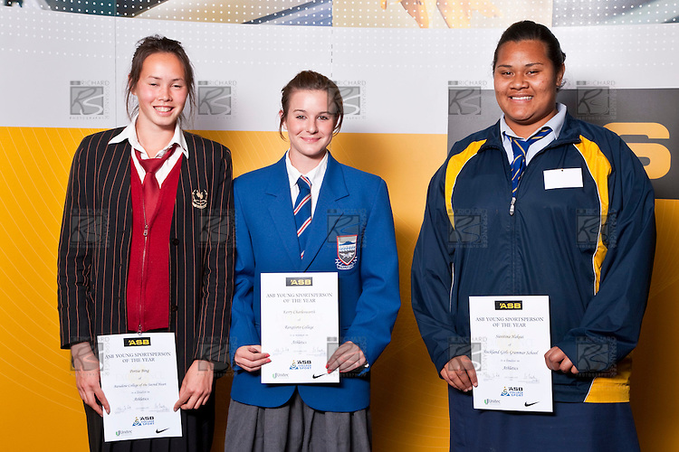 Girls Athletics finalists Portia Bing, Kerry Charlesworth & Siositina Hakeai. ASB College Sport Auckland Secondary School Young Sports Person of the Year Awards held at Eden Park on Thursday 12th of September 2009.