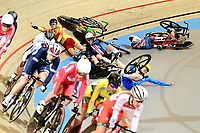 Picture by SWpix.com - 02/03/2018 - Cycling - 2018 UCI Track Cycling World Championships, Day 3 - Omnisport, Apeldoorn, Netherlands - Women's Omnium Elimination Race - Crash involving Elinor Barker of Great Britain, Jennifer Valente of The United States and Ana Usabiaga Balerdi of Spain