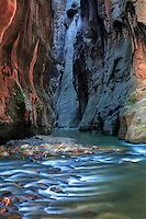 The Virgin River slices through Zion Canyon forming The Narrows at Zion National Park, Utah