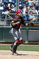 Josh Reavis (5) of the Vancouver Canadians waits for a throw during a game against the Everett AquaSox at Everett Memorial Stadium on July 28, 2015 in Everett, Washington. Everett defeated Vancouver, 8-5. (Larry Goren/Four Seam Images)