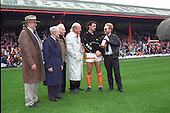 Gary Briggs receives player of the month award from Gazette Sports Editor Tony Durkin.<br /> L-R Owen Oyston,Jackie Mudie,Sir Stanley Matthews and Jock Dodds