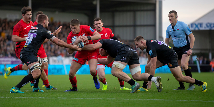 Saracens' Owen Farrell in action during todays match<br /> <br /> Photographer Bob Bradford/CameraSport<br /> <br /> Gallagher Premiership Round 10 - Exeter Chiefs v Saracens - Saturday 22nd December 2018 - Sandy Park - Exeter<br /> <br /> World Copyright © 2018 CameraSport. All rights reserved. 43 Linden Ave. Countesthorpe. Leicester. England. LE8 5PG - Tel: +44 (0) 116 277 4147 - admin@camerasport.com - www.camerasport.com