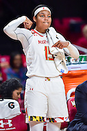 College Park, MD - NOV 16, 2016: Maryland Terrapins forward Kiah Gillespie (15) celebrates a big play on the sideline during game between Maryland and Maryland Eastern Shore Lady Hawks at XFINITY Center in College Park, MD. The Terps defeated the Lady Hawks 106-61. (Photo by Phil Peters/Media Images International)
