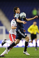 Marko Perovic (29) of the New England Revolution chests the ball. The New York Red Bulls defeated the New England Revolution 3-0 during a U. S. Open Cup qualifier round match at Red Bull Arena in Harrison, NJ, on May 12, 2010.