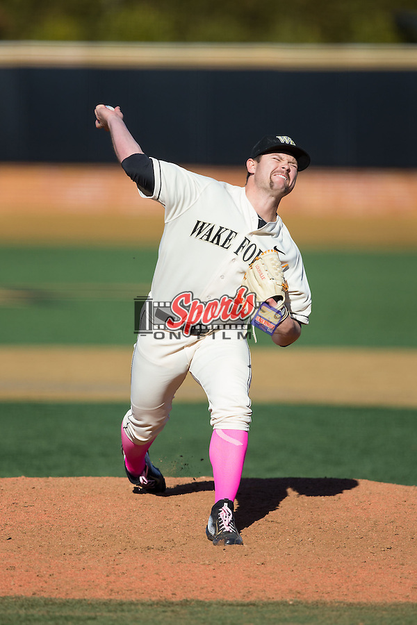 Wake Forest Demon Deacons relief pitcher Will Finley (33) in action against the Virginia Tech Hokies at Wake Forest Baseball Park on March 7, 2015 in Winston-Salem, North Carolina.  The Hokies defeated the Demon Deacons 12-7 in game one of a double-header.   (Brian Westerholt/Sports On Film)