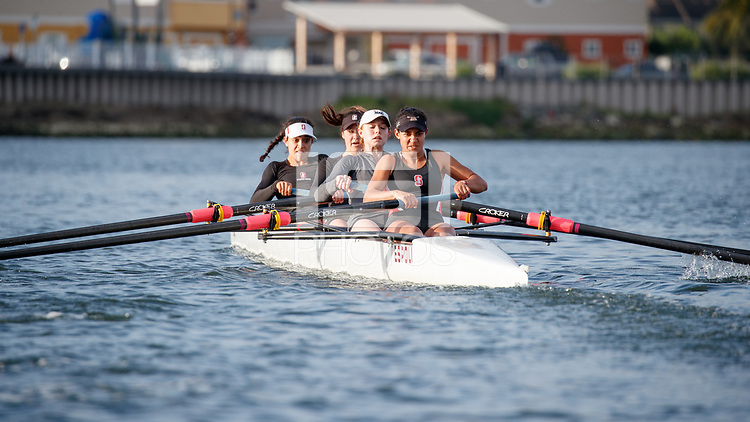 Redwood City, CA - April 11, 2018: Stanford Lightweight Rowing Team during practice on Redwood Creek.