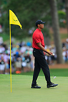 Tiger Woods (USA) on the 7th green during the final round at the The Masters , Augusta National, Augusta, Georgia, USA. 14/04/2019.<br /> Picture Fran Caffrey / Golffile.ie<br /> <br /> All photo usage must carry mandatory copyright credit (© Golffile | Fran Caffrey)