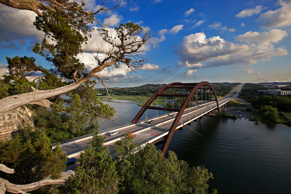 The 360 Pennybacker Bridge is beautiful and iconic.  The beautiful cable stay bridge was constructed using special Japanese steel so it would need minimal maintenance and blend with the surrounding environment.