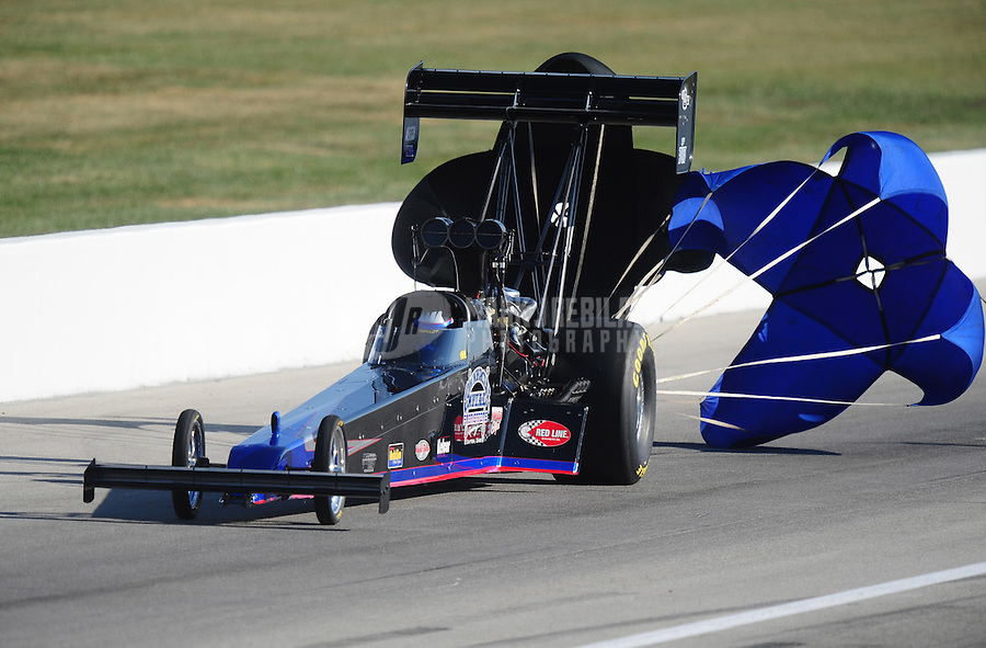 Sept. 5, 2010; Clermont, IN, USA; NHRA top fuel dragster driver Pat Dakin during qualifying for the U.S. Nationals at O'Reilly Raceway Park at Indianapolis. Mandatory Credit: Mark J. Rebilas-