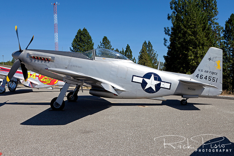 An F-51H Mustang sits on the tarmac at the Nevada County Airport.
