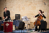 Incandescendo: Emily Burridge ('cello), Felix Gibbons (percussion) with special guest Marco Campos from Rio de Janeiro, Brazil on ten-string guitar in concert at Ashleywood Farm, Wiltshire, England, 19th May 2013.