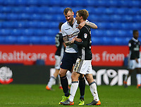 Bolton Wanderers' Darren Pratley embraces Tim Ream of Fulham after the 1-1 draw against Fulham.<br /> <br /> Photographer Leila Coker/CameraSport<br /> <br /> The EFL Sky Bet Championship - Bolton Wanderers v Fulham - Saturday 10th February 2018 - Macron Stadium - Bolton<br /> <br /> World Copyright &copy; 2018 CameraSport. All rights reserved. 43 Linden Ave. Countesthorpe. Leicester. England. LE8 5PG - Tel: +44 (0) 116 277 4147 - admin@camerasport.com - www.camerasport.com