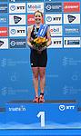 06.07.2019,  Innenstadt, Hamburg, GER, Hamburg Wasser World Triathlon, Elite Frauen, im Bild die Siegerin Non Standford (GBR) bei der Siegerehrung Foto © nordphoto / Witke *** Local Caption ***