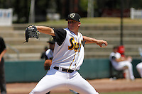 Jacksonville Suns pitcher Frankie Reed (31) in action during a game against the Pensacola Blue Wahoos at Bragan Field on the Baseball Grounds of Jacksonville on May 11, 2015 in Jacksonville, Florida. Jacksonville  defeated Pensacola 5-4. (Robert Gurganus/Four Seam Images)