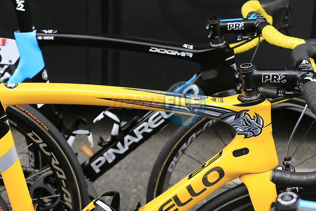 Race leader Chris Froome's (GBR) Team Sky Pinarello Dogma F8 lined up outside the team bus before the start of Stage 21 of the 2016 Tour de France, running 113km from Chantilly to Paris Champs-Elysees, France. 24th July 2016.<br />