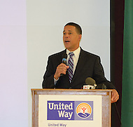 "September 13, 2011 (Prince George's County, MD)   Maryland Lt. Governor Anthony G. Brown at a press conference announing a new initiative in Prince George's County, MD aimed at reducing the incidence of youth gang violence through education. The United Way NCA, working with its community partners, will launch the one-year pilot program, ""Way to P.E.A.C.E."", (Prevention, Education, Awareness, Connection and Empowerment), in two Prince George's middle schools this fall. An initial $50,000 state grant from the Governor's Office of Crime Control and Prevention is being matched with $50,000 from the United Way NCA to support the program.  (Photo by Don Baxter/Media Images International)"
