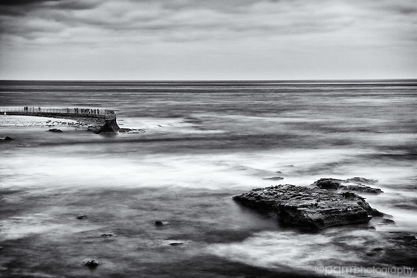Black and white image of the Children's Pool in La Jolla, CA