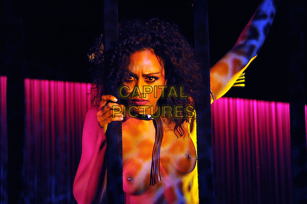 Crazy Horse.Crazy Horse presents Forever Crazy-2 show, Moscow, Russia..February 17th, 2012.stage performance performing show half length black cleavage nipples flashing topless cage animal print paint arms in air .CAP/PER/GU.©GU/PersonaStars/CapitalPictures
