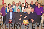 Batt Brosnan, Mastergeeha, Kilcummin,second from right, pictured with Timmy Moriarty, Joe Scully, Fr Micheal O'Dochartaigh, Catherine scully,Maureen O'Sullivan, Jerry Moriarty, Eileen Coffey, Donie O'Doherty, Sheila O'Sullivan, Mary Kissane, Fr Paddy O'Donoghue, Nora Moriarty, Mary Doyle and Ann Cronin as he celebrated his 95 birthday in Beaufort Community Centre on Monday night.