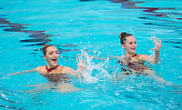 Picture by Allan McKenzie/SWpix.com - 25/11/2017 - Swimming - Swim England Synchronised Swimming National Age Group Championships 2017 - GL1 Leisure Centre, Gloucester, England - Pyper Watkins & Sydney Ann-Jackson.