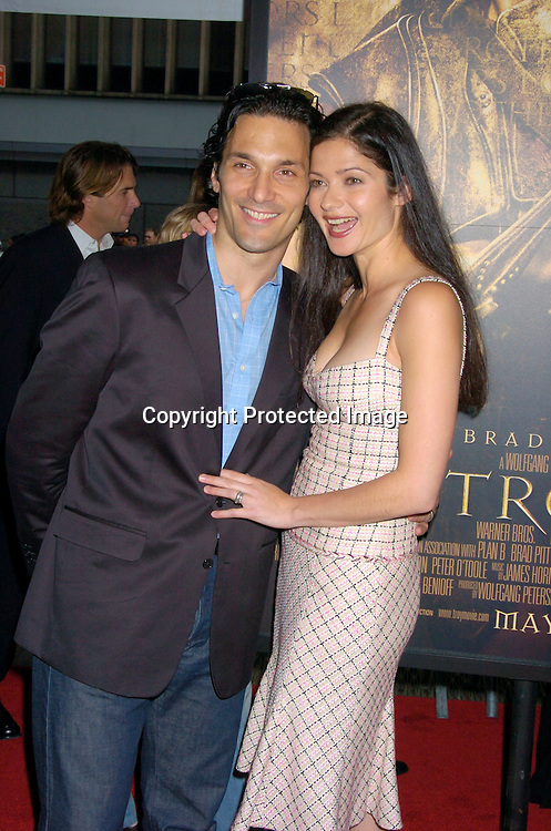 "Jill Hennessey and husband Paulo Santopietro ..at The US Premiere of ""Troy"" on May 10, 2004 at The Ziegfeld Theatre. Photo by Robin Platzer, Twin Images"