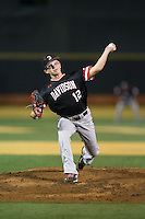 Davidson Wildcats relief pitcher Jaret Lacagnina (12) in action against the Wake Forest Demon Deacons at David F. Couch Ballpark on February 28, 2017 in Winston-Salem, North Carolina.  The Demon Deacons defeated the Wildcats 13-5.  (Brian Westerholt/Four Seam Images)