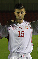 Edmond Selmani in the Armenia v Switzerland UEFA European Under-19 Championship Qualifying Round match at New Douglas Park, Hamilton on 11.10.12.