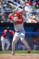 Williamsport Crosscutters third baseman Jan Hernandez (12) at bat during a game against the Batavia Muckdogs on July 16, 2015 at Dwyer Stadium in Batavia, New York.  Batavia defeated Williamsport 4-2.  (Mike Janes/Four Seam Images)