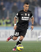 Calcio, semifinale di ritorno di Coppa Italia: Lazio vs Juventus. Roma, stadio Olimpico, 29 gennaio 2013..Juventus midfielder Arturo Vidal, of Chile, in action during the Italy Cup football semifinal return leg match between Lazio and Juventus at Rome's Olympic stadium, 29 January 2013..UPDATE IMAGES PRESS/Riccardo De Luca