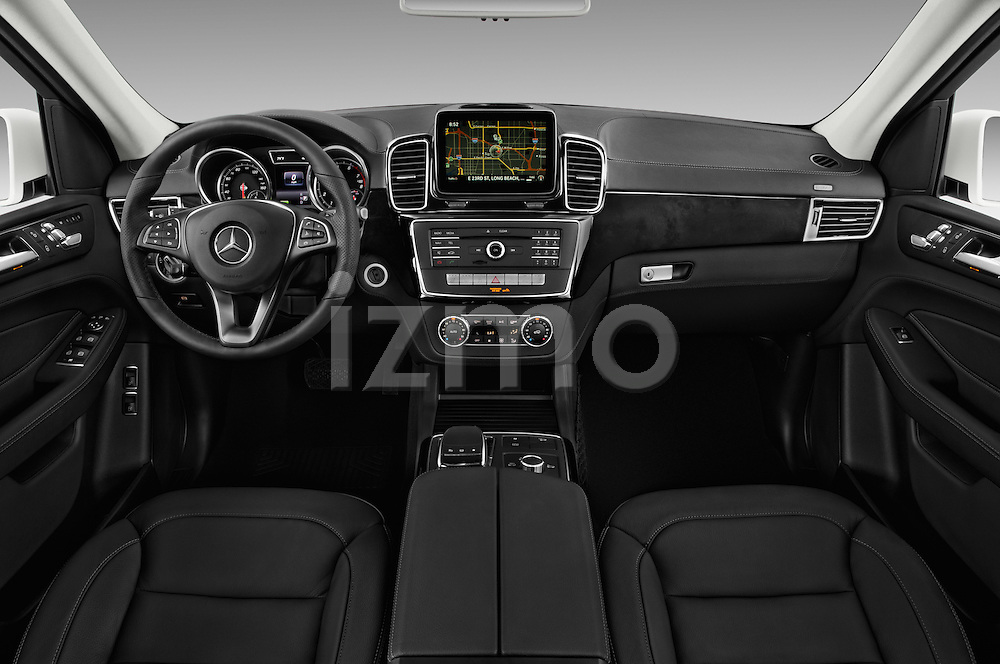 Stock photo of straight dashboard view of 2017 Mercedes Benz GLE-Class GLE550e-4MATIC® 5 Door SUV Dashboard