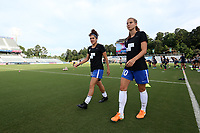 Cary, North Carolina  - Saturday June 17, 2017: Kylie Strom and Angela Salem prior to a regular season National Women's Soccer League (NWSL) match between the North Carolina Courage and the Boston Breakers at Sahlen's Stadium at WakeMed Soccer Park. The Courage won the game 3-1.