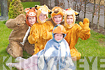 WAVING: Members of Listowel Stage School, Muireann Beasley (front), Michael Tydings, Jonathan Carr, James Duggan and Lorna Laurant rehearsing for The Lion King in the musical Catchy Rhythms at The Shanchai Centre, Listowel, on Sunday. .