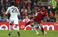 Liverpool's Mohamed Salah battles with Bayern Munich's Jonathan Meier<br /> <br /> Photographer Rich Linley/CameraSport<br /> <br /> UEFA Champions League Round of 16 First Leg - Liverpool and Bayern Munich - Tuesday 19th February 2019 - Anfield - Liverpool<br />  <br /> World Copyright © 2018 CameraSport. All rights reserved. 43 Linden Ave. Countesthorpe. Leicester. England. LE8 5PG - Tel: +44 (0) 116 277 4147 - admin@camerasport.com - www.camerasport.com