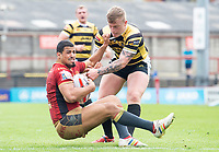 Picture by Allan McKenzie/SWpix.com - 22/04/2018 - Rugby League - Ladbrokes Challenge Cup - York City Knight v Catalans Dragons - Bootham Crescent, York, England - Fouad Yaha is tackled by Connor Robinson.