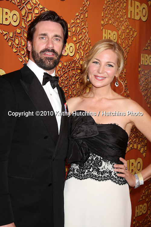 Jon Hamm & Wife.arriving at the 67th Annual Golden Globe Awards Official HBO After Party.Beverly Hilton Hotel.Beverly Hills, CA.January 17, 2010.©2010 Kathy Hutchins / Hutchins Photo....