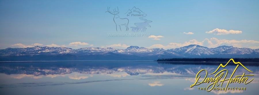 Absaroka Mountain Reflection in Yellowstone Lake at Sunrise.