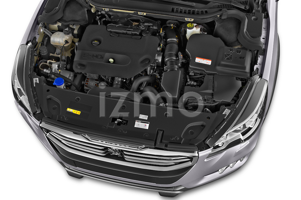 Car Stock 2015 Peugeot 508 RXH 5 Door Wagon 2WD Engine high angle detail view