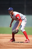 Williamsport Crosscutters first baseman Brendon Hayden (43) during a game against the Batavia Muckdogs on July 16, 2015 at Dwyer Stadium in Batavia, New York.  Batavia defeated Williamsport 4-2.  (Mike Janes/Four Seam Images)