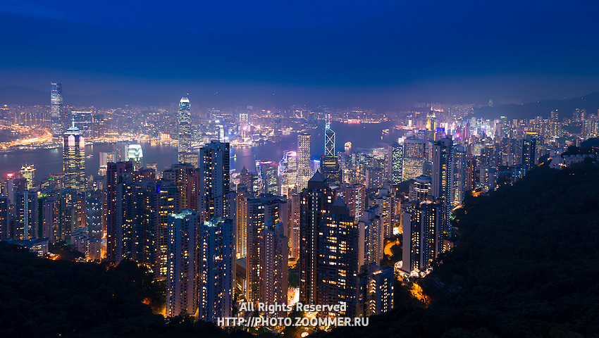 Panorama of Hong Kong Island and Bay At Night