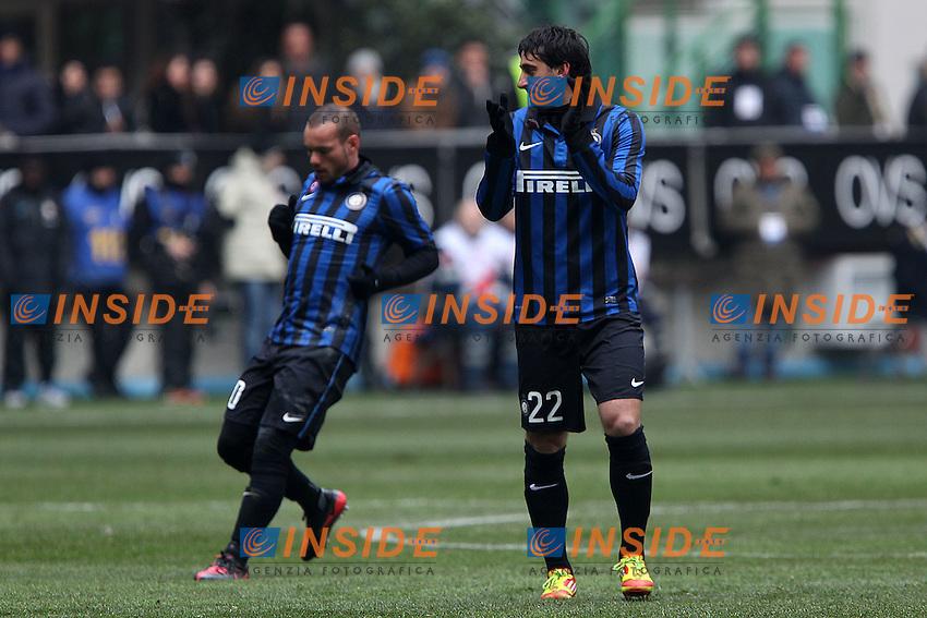 "Wesley Sneijder Diego Milito Inter..Milano 12/02/2012 Stadio ""S.Siro""..Football / Calcio Serie A 2011/2012..Inter vs Novara..Foto Insidefoto Paolo Nucci"