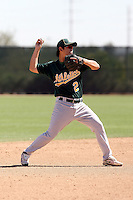 Zhi-Fang Pan #2 of the Oakland Athletics plays in a minor league spring training game against the San Francisco Giants at Papago Park on March 31, 2011 in Phoenix, Arizona. .Photo by:  Bill Mitchell/Four Seam Images.