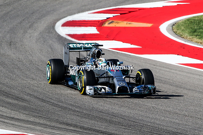 LEWIS HAMILTON (44) driver of the Mercedes AMG Petronas F1 team car in action during the last practice before the Formula 1 United States Grand Prix race at the Circuit of the Americas race track in Austin,Texas.