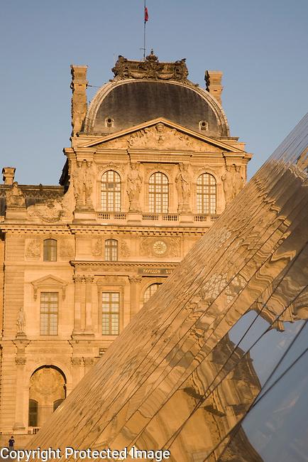 Pyramid by IM Pei, Louvre Art Museum, Paris, France